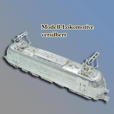 Modell-Lokomotive, versilbert