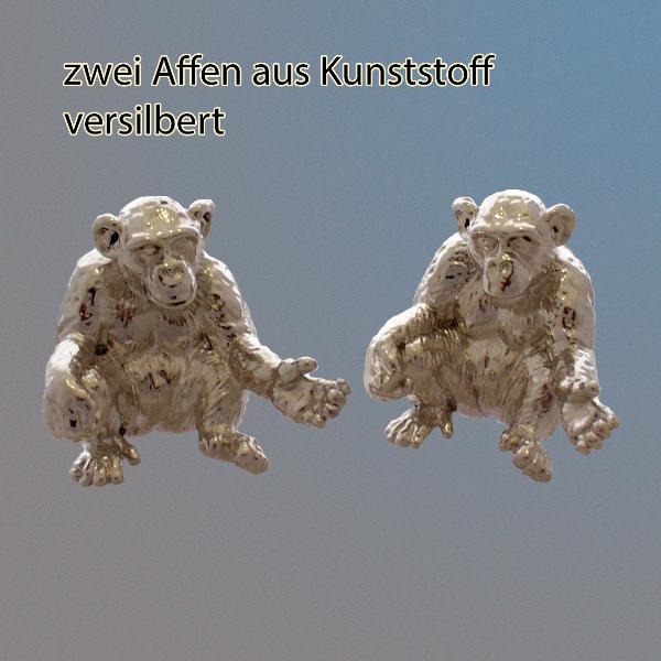 zwei Affen, versilbert