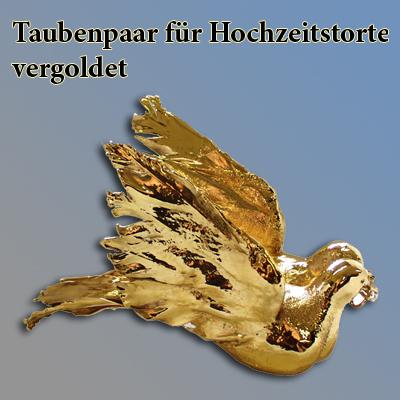 Taubenpaar Hochzeitstorte, vergoldet