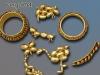 diverse Naturmaterailen, vergoldet