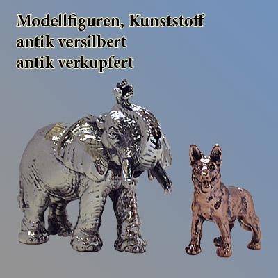 Tiermodelle, versilbert und verkupfert
